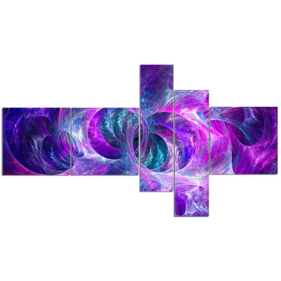 Designart Snow Purple Fractal Texture Multipanel Abstract Canvas Art Print - 5 Panels