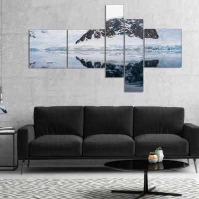 Designart Snowcap Hill In Antarctica Multipanel Seashore Canvas Art Print - 5 Panels