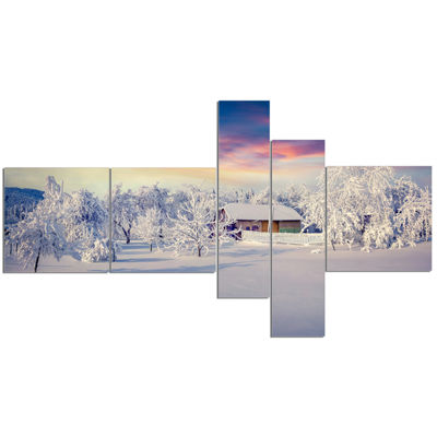 Designart Snowfall Covering Trees And Houses Multipanel Landscape Canvas Art Print - 5 Panels