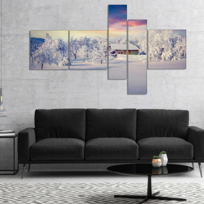 Designart Snowfall Covering Trees And Houses Multipanel Large Landscape Canvas Art Print - 4 Panels