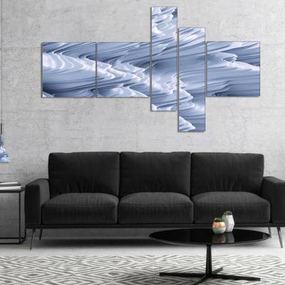 Designart Snowy Hills 3D Texture Multipanel Abstract Canvas Art Print - 5 Panels