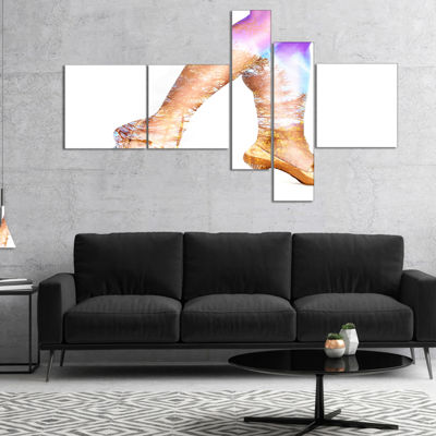 Designart Dancer Legs And Treescape Double Exposure Multipanel Portrait Canvas Art Print - 4 Panels