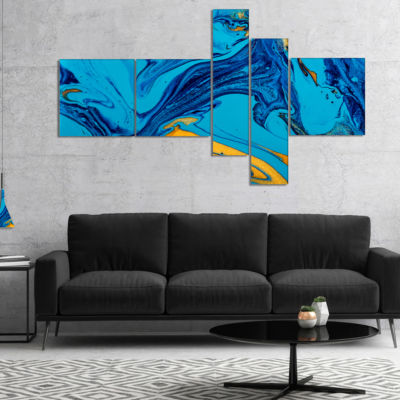 Designart Soft Blue Abstract Acrylic Paint Mix Multipanel Abstract Art On Canvas - 4 Panels