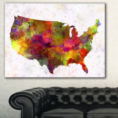 Designart United States Map In Colors Watercolor Painting Canvas Print