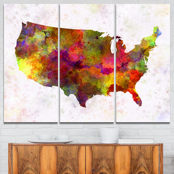 Designart United States Map In Colors WatercolorPainting Canvas Print - 3 Panels