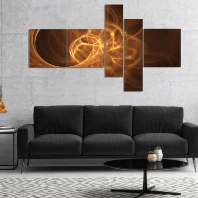 Designart Softly Glowing Circles Golden MultipanelAbstract Canvas Art Print - 4 Panels