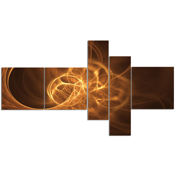 Designart Softly Glowing Circles Golden MultipanelAbstract Canvas Art Print - 5 Panels