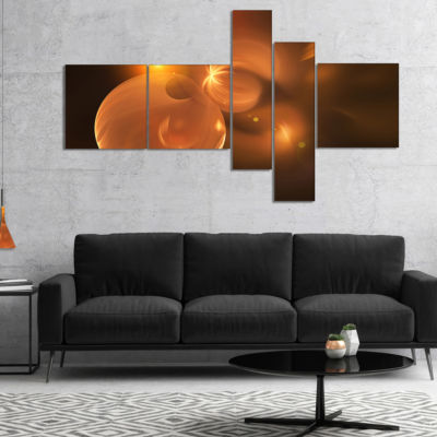 Design Art Softly Glowing Circles Yellow MultipanelLarge Abstract Art - 5 Panels