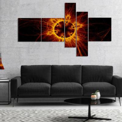 Designart Solar Eclipse Digital Illustration Multipanel Abstract Wall Art Canvas - 5 Panels