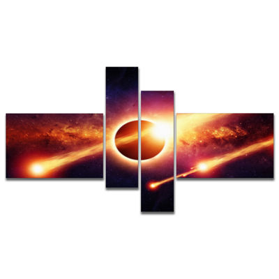 Designart Space Apocalypse Multipanel Abstract Canvas Art Print - 4 Panels