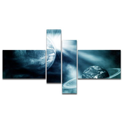 Designart Space View With Two Planets MultipanelSpacescape Canvas Art Print - 4 Panels