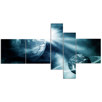 Designart Space View With Two Planets MultipanelSpacescape Canvas Art Print - 5 Panels