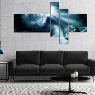 Designart Space View With Two Planets Multipanel Spacescape Canvas Art Print - 5 Panels
