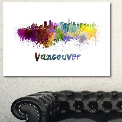Designart Vancouver Skyline Cityscape Canvas Art Print - 3 Panels