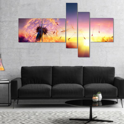 Designart Dandelion At Sunset Freedom To Wish Multipanel Abstract Wall Art Canvas - 5 Panels