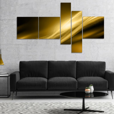 Designart Sparkle Gold Texture Pattern MultipanelAbstract Canvas Art Print - 4 Panels