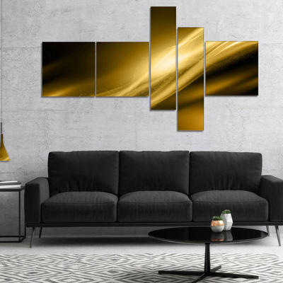 Designart Sparkle Gold Texture Pattern MultipanelAbstract Canvas Art Print - 5 Panels