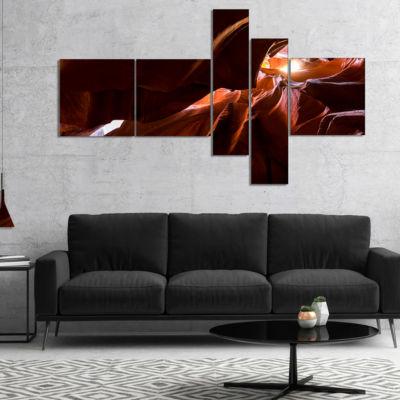 Designart Dark Antelopes Canyon Multipanel Landscape Photo Canvas Art Print - 5 Panels