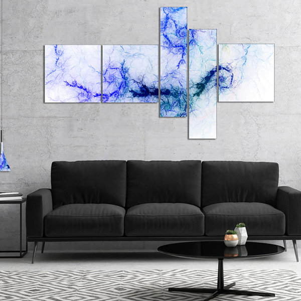 Designart Sparkling Blue Stormy Sky Multipanel Abstract Canvas Art Print - 5 Panels