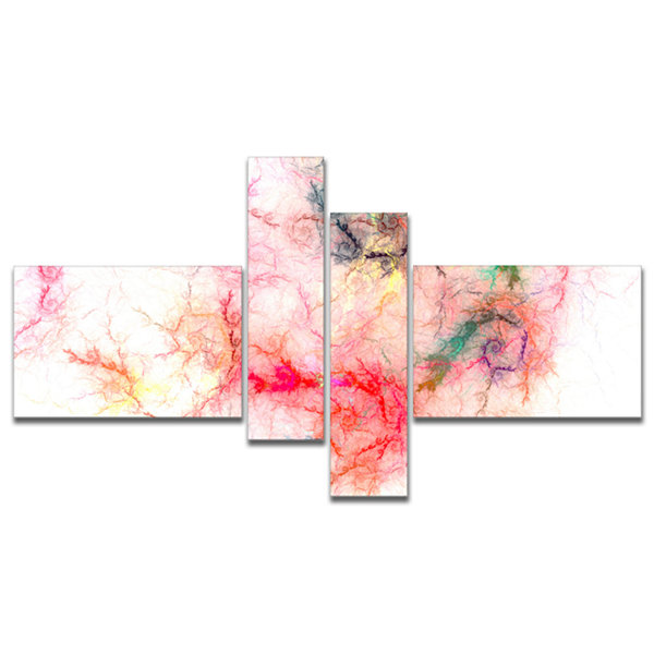 Designart Sparkling Red Stormy Sky Multipanel Abstract Canvas Art Print - 4 Panels