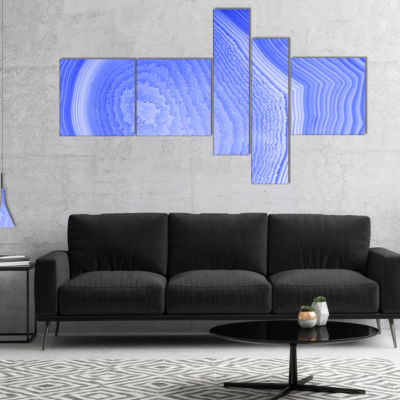 Designart Dark Blue Agate Structure Multipanel Abstract Canvas Art Print - 4 Panels