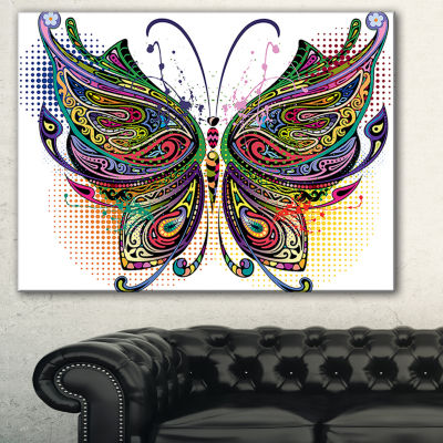 Designart Variegated Butterfly Abstract Print OnCanvas - 3 Panels
