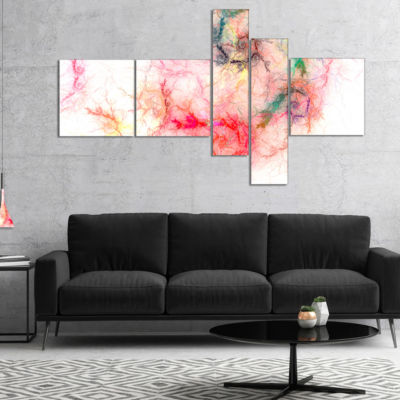 Designart Sparkling Red Stormy Sky Multipanel Abstract Canvas Art Print - 5 Panels