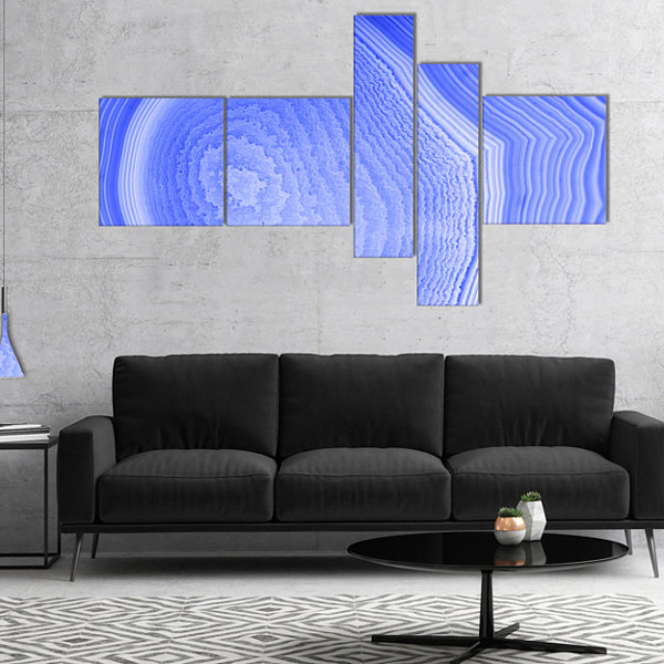 Designart Dark Blue Agate Structure Multipanel Abstract Canvas Art Print - 5 Panels