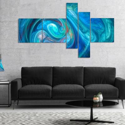 Designart Dark Blue Fractal Abstract Texture Multipanel Abstract Canvas Wall Art - 5 Panels