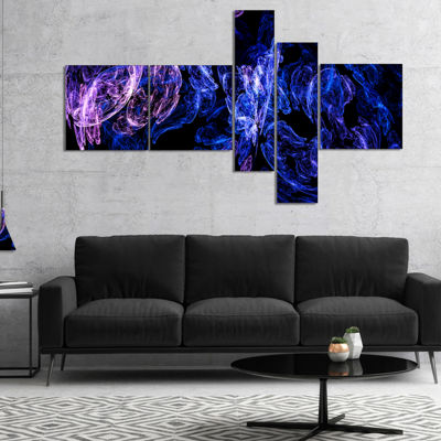 Designart Dark Blue Fractal Desktop Multipanel Large Abstract Art - 5 Panels