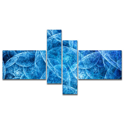 Designart Dark Blue Fractal Dramatic Clouds Multipanel Abstract Canvas Art Print - 4 Panels