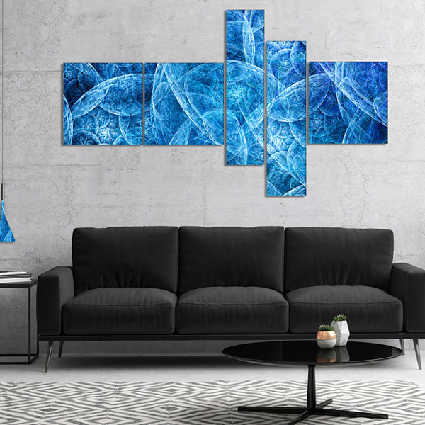 Designart Dark Blue Fractal Dramatic Clouds Multipanel Abstract Canvas Art Print - 5 Panels