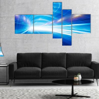 Designart Speed Motion In Highway Tunnel Multipanel Abstract Canvas Art Print - 5 Panels