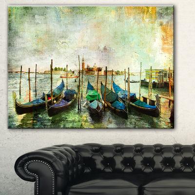 Designart Venetian Gondolas Landscape Painting Canvas Print - 3 Panels