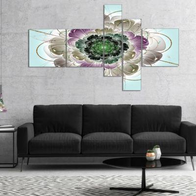 Designart Dark Blue Fractal Flower Pattern Multipanel Abstract Wall Art Canvas - 5 Panels