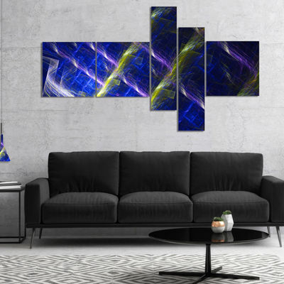 Designart Dark Blue Fractal Grill Multipanel Abstract Art On Canvas - 4 Panels