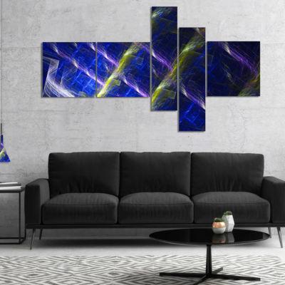 Designart Dark Blue Fractal Grill Multipanel Abstract Art On Canvas - 5 Panels