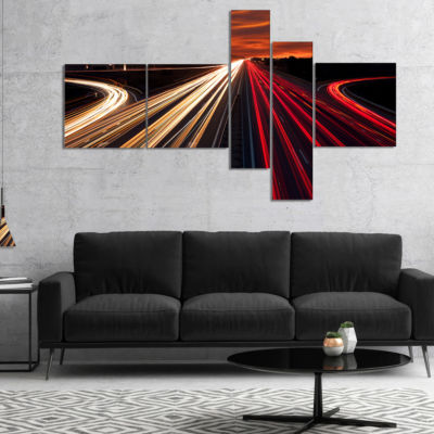 Designart Speed Traffic Trails Multipanel Cityscape Digital Art Canvas Print - 4 Panels