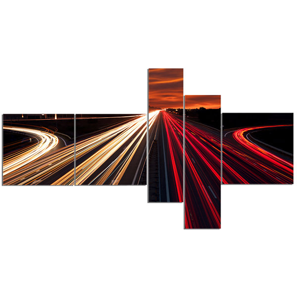 Designart Speed Traffic Trails Multipanel Cityscape Digital Art Canvas Print - 5 Panels