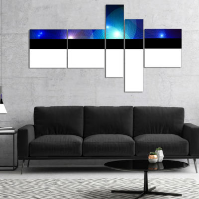 Designart Dark Blue Fractal Lights In Fog Multipanel Abstract Wall Art Canvas - 5 Panels