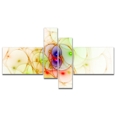 Designart Spherical Colorful Fractal Design Multipanel Abstract Wall Art Canvas - 4 Panels