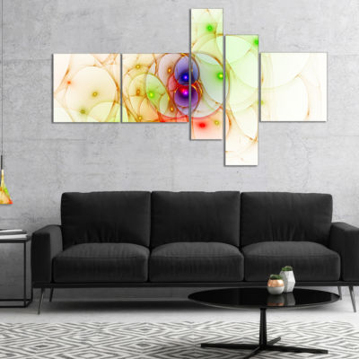 Designart Spherical Colorful Fractal Design Multipanel Abstract Wall Art Canvas - 5 Panels