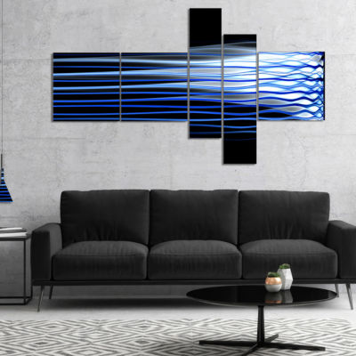 Designart Dark Blue Fractal Waves Multipanel Abstract Art On Canvas - 5 Panels