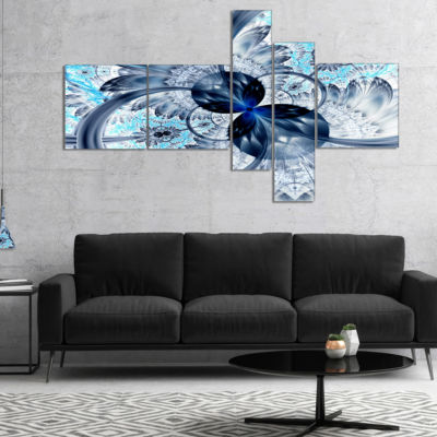 Designart Dark Blue Purple Fractal Flower Multipanel Abstract Canvas Art Print - 4 Panels