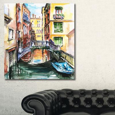 Designart Venice Canal Meeting Bridge Cityscape Canvas Art Print - 3 Panels