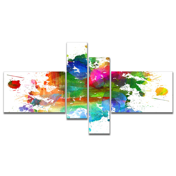 Designart Splashes Of Colors Multipanel AbstractOil Painting Canvas - 4 Panels
