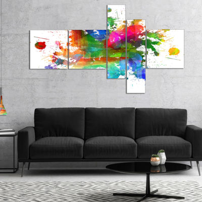 Designart Splashes Of Colors Multipanel AbstractOil Painting Canvas - 5 Panels