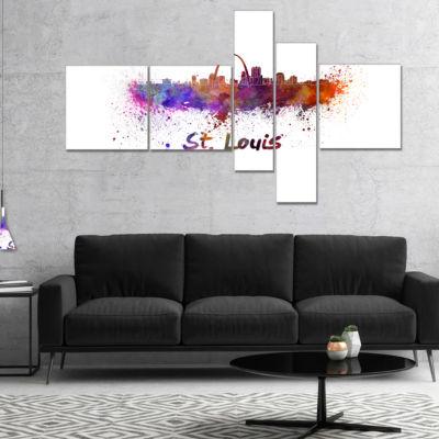 Designart St Louis Skyline Multipanel Cityscape Canvas Artwork Print - 5 Panels