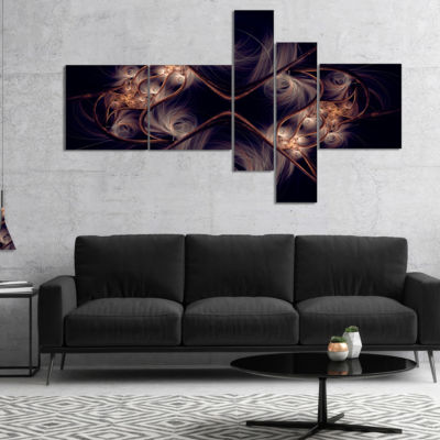 Designart Dark Gold Fractal Flower Pattern Multipanel Abstract Wall Art Canvas - 4 Panels