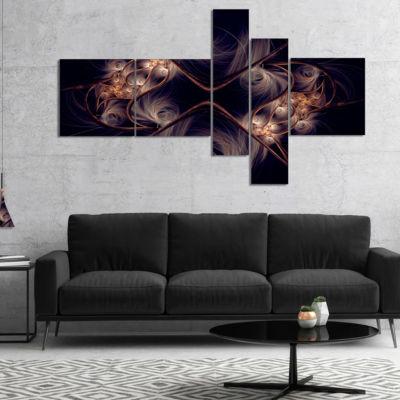 Designart Dark Gold Fractal Flower Pattern Multipanel Abstract Wall Art Canvas - 5 Panels